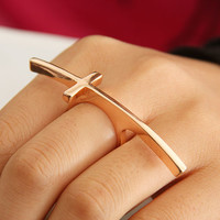 Curved Fashion Cross Single Finger Ring    LilyFair Jewelry