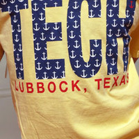 Lubbock, TX TECH Anchors on Soft Yellow Tee