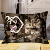 Love Browning Deer Camo on Rectangle Pillow Cover