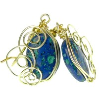 Malachite Azurite Oval Earrings, Gold Plated Spiral Asymmetric Drops