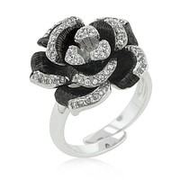 Two-tone Finish Floral Ring with Textured Pedals