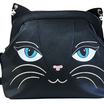 Gothic Emo Meow Black Cat Neko Crossbody Purse with Bells - Large