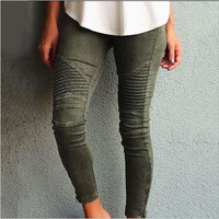 Army Pure color pleated small feet jeans