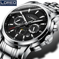 LOREO Sapphire Glass Automatic Men'S Watch 50M Waterproof Luminous Auto Date Erkek Kol Saati Christmas Gift Father Day Gift K60
