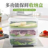 Multifunctional Sealed And Drained Refrigerator Fresh-Keeping Box With Lid, Household Refrigerator, Frozen Seafood, Meat And Vegetable Storage Box