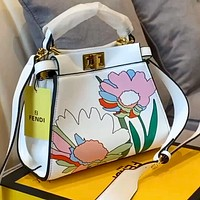 Fendi Peekaboo 2020 new floral print single handle handbag shoulder messenger bag