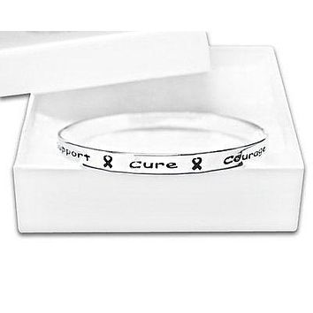Cancer Awareness Silver Ribbon Bangle Words Support, Cure, Hope, Courage