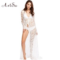 ArtSu Women Lace Dress Long Maxi See Through Floral Elegant Sexy Summer Evening Party Dresses Female Vestidos ASDR20033