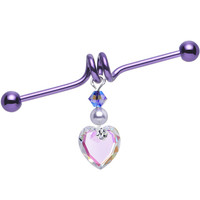 Aurora Charm Heart Industrial Barbell Created with Swarovski Crystals | Body Candy Body Jewelry