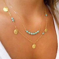 Gold Turquoise Bead and Scale Layer Necklace