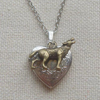 Silver heart locket necklace with wolf