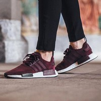 Best Online Sale Adidas NMD R1 Suede Maroon S75231 Boost Sport Running Shoes Classic Casual Shoes Sneakers