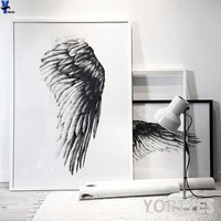 Nordic Style black and white wing Canvas Art Print Painting Poster, picture Wall Pictures for rome Home Decoration, Wall Decor