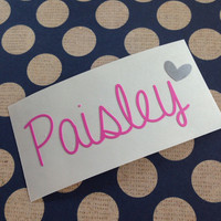 Name Decal | Name Decals with Heart | Fancy Name Decal | Any Name Decal | Customized Name Decal | Personalized Decals | Handwritten Vinyl