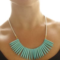 Turquoise contemporary necklace - gemstone spike necklace - turquoise summer necklace - Summer bib necklace perfect with tank top