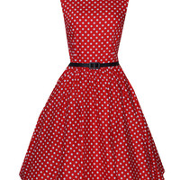 Red Polka Dot Sleeveless Belted A-Line Pleated Mini Dress
