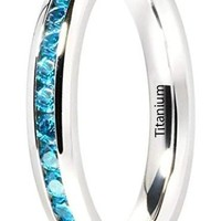 CERTIFIED 3mm Princess Cut Ladies Eternity Titanium Ring with Blue CZ Inlay