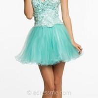 Embroidered Bodice Short Tulle Skirt Prom Dresses by Dave and Johnny