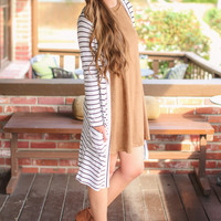 Fall in Line Cardigan - Ivory and Black