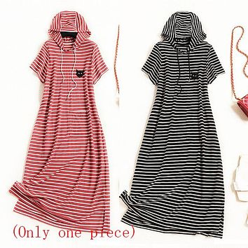 Summer new pull-rope cap, round collar, shoulder, short sleeve, open skirt, slim striped dress (Only one piece)