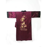 Free Shipping!!! Chinese Style Men's Double-Face Reversible Kimono Robe/Gown Embroidery Dragon Sleepwear
