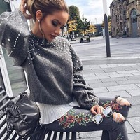 Pearl turtleneck knitted sweater Women long sleeve gray pullover female Warm casual jumper pull femme