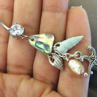 Starfish Abalone Cluster Belly Button Jewelry Ring Seashell Sea Shell Beach Starfish Pearl Long Charm Navel Piercing Bar Barbell Abalone