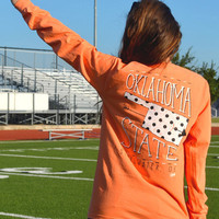 Long Sleeve Orange Polka Dots OSU-Comfort Colors