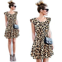 Newest Summer Sexy Women's Sleeveless Aline Leopard Dress Casual Party Evenning Mini Dress