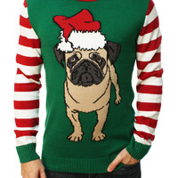 Ugly Christmas Sweater Men's Pug Life Pullover Sweater