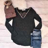 Charcoal Camo Criss Cross Top