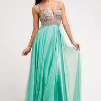 PRIMA 17-7910 Jeweled Sheer Illusion V-Neck Chifon Prom Dress