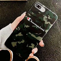 Champion New fashion letter print camouflage iphone protective cover phone case Army Green