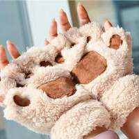 UK Free Shipping! Cute Cat Paw Gloves Fingerless Kawaii Plush Mittens