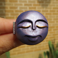 Periwinkle Blue Sleeping Moon Locket Ring Adjustable Handmade Polymer Clay Jewelry