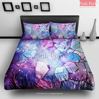 Geometric Square Cube on Fox Galaxy Nebula Bedding Sets Home Gift Home & Living Wedding Gifts Wedding Idea Twin Full Queen King Quilt Cover Duvet Cover Flat Sheet Pillowcase Pillow Cover 064