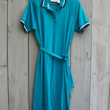 Vintage dress - Teal polo dress with matching belts