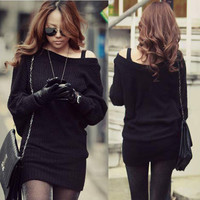 Sexy Women Solid Black Mini Sweater Dress Boat Neck Batty Sleeve Long Top 1gr