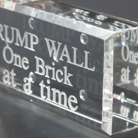 Trump wall glass brick paperweight, Donald