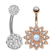 BodyJ4You® 2PC Jeweled Created-Opal Flower Rose Goldtone Belly Button Ring and Crystal B... - Walmart.com