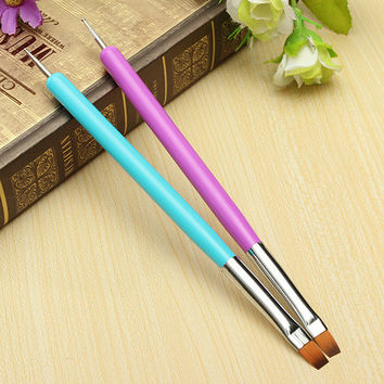 2015 Hot NEW 2-Ways Nail Art Pen Painting Dotting Acrylic UV Gel Polish Brush Liners Tool 5FB4