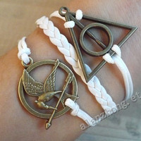Catching fire,mockingjay bracelet,Hunger Games Katniss bracelet, the hunger games bracelet,hipster jewelry,Harry Potter jewelry,white