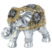 Polyresin Standing Elephant Figurine with Engraved Design and Gold Embedded Glass Gem Matte Finish Silver