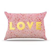 "Leah Flores ""Love Roses"" Pink Flowers Pillow Sham"
