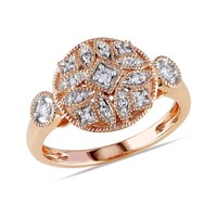 Diamond Rose Fashion Ring 1/7ctw - Size 6