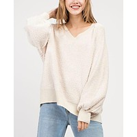 Final Sale - Fuzzy V-Neck Bubble Sleeve Sweater - Ivory