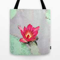 art style pretty pink waterlily flower  Tote Bag by NatureMatters