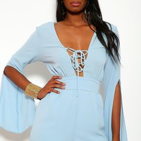 Solid, Short Romper With 3/4 Sleeves, Slits