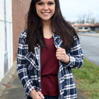 Southern Plaid Button Up {Navy/White/Red}