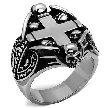 Silver Ring For Men TK2506 Stainless Steel Ring with Epoxy in Jet